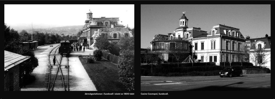 Korrespondenskorten jämför byggnader eller platser idag och hur det såg ut kring förra sekelskiftet.