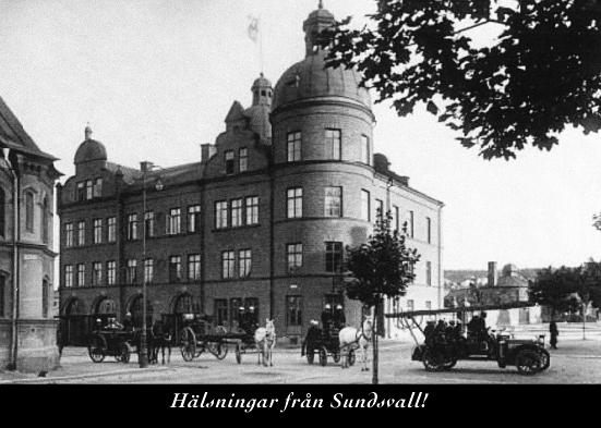 Brandstationen i hörnet Skolhusallén - Köpmangatan