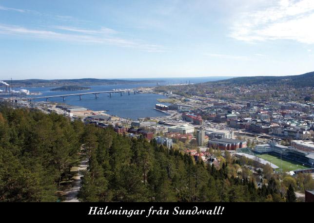 Vy från Norra berget över Sundsvall och Sundsvallsbron. Nr. 2014.076