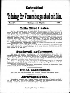 Tidning för Wenersborgs stad och län Extrablad