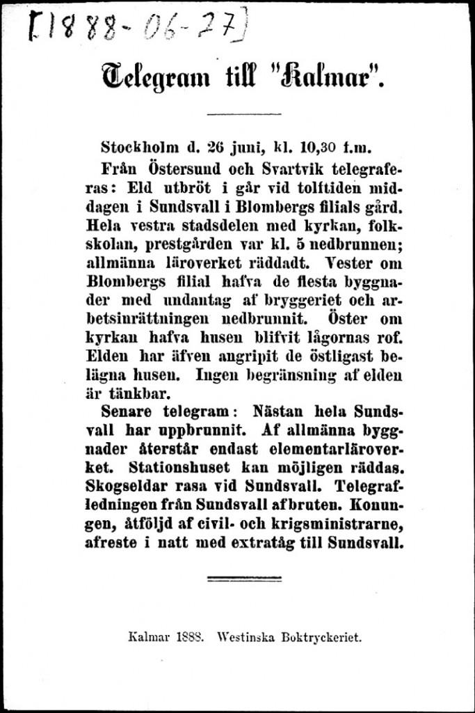 Tidningen Kalmar 27 juni 1888-Telegram