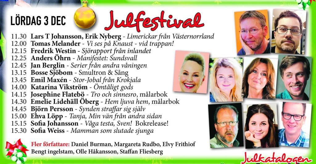 Många lokala författare deltog i Julfestivalen.
